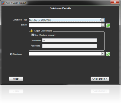 Database selection screen