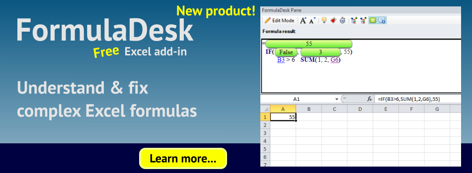 FormulaDesk - free Excel add-in. Understand and fix complex Excel formulas
